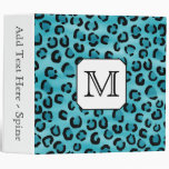 Teal Leopard Print, Custom Monogram. 3 Ring Binder