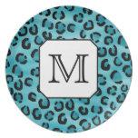 Teal Leopard Print, Custom Monogram. Dinner Plates