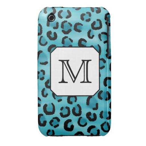 Teal Leopard Print, Custom Monogram. iPhone 3 Case