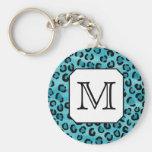 Teal Leopard Print, Custom Monogram. Keychain