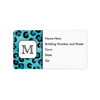 Teal Leopard Print, Custom Monogram. Personalized Address Label