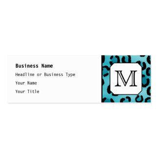 Teal Leopard Print, Custom Monogram. Mini Business Card