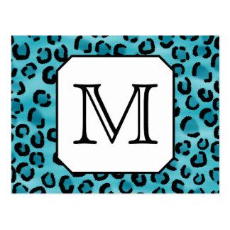 Teal Leopard Print, Custom Monogram. Postcard