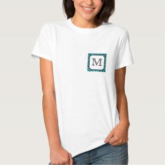 Teal Leopard Print, Custom Monogram. T-Shirt