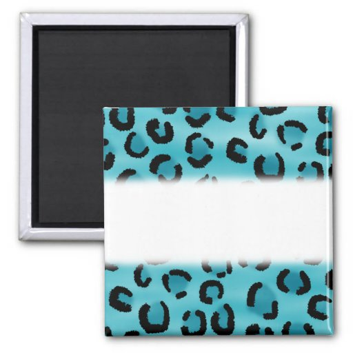 Teal Leopard Print Pattern. 2 Inch Square Magnet