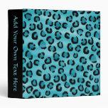 Teal Leopard Print Pattern. Binders