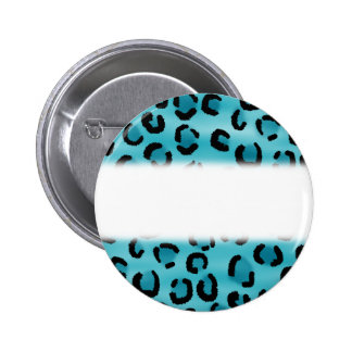 Teal Leopard Print Pattern. Pinback Buttons
