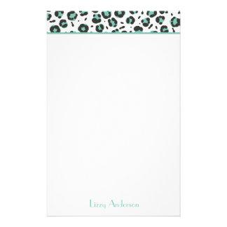 Teal Leopard Print Personalized Stationery
