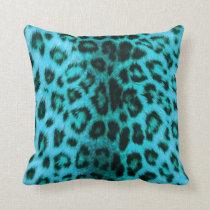 Teal Leopard Print Pillow