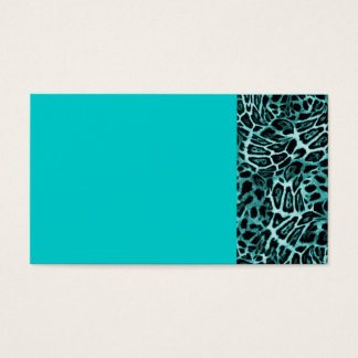 TEAL LEOPARD WOBBLE PATTERN BACKGROUNDS WALLPAPERS BUSINESS CARD