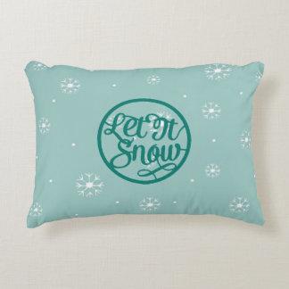 Teal Let It Snow Accent Pillow