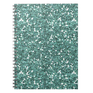 TEAL LIGHT GLITTER SHAPES COLOR SOLID BACKGROUND W NOTEBOOK