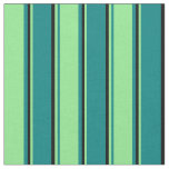 [ Thumbnail: Teal, Light Green, and Black Stripes Fabric ]