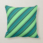 [ Thumbnail: Teal, Light Green, and Black Stripes Throw Pillow ]