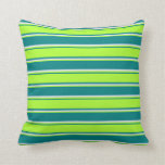 [ Thumbnail: Teal, Light Green, and Lavender Colored Pattern Throw Pillow ]