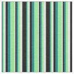 [ Thumbnail: Teal, Light Green, Light Cyan, and Black Pattern Fabric ]