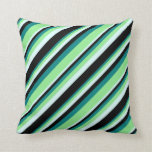 [ Thumbnail: Teal, Light Green, Light Cyan, and Black Pattern Throw Pillow ]