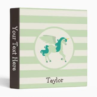 Teal & Light Green Unicorn Binder