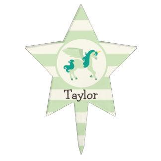 Teal & Light Green Unicorn Cake Topper
