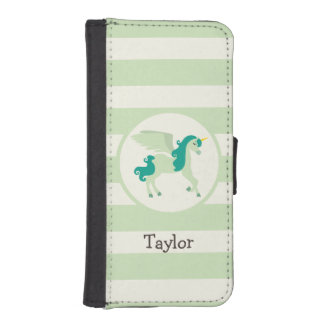 Teal & Light Green Unicorn iPhone SE/5/5s Wallet