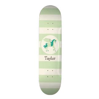 Teal & Light Green Unicorn Skateboard Deck
