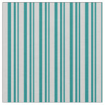 [ Thumbnail: Teal & Light Grey Lines Pattern Fabric ]