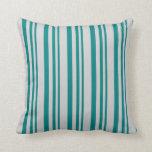 [ Thumbnail: Teal & Light Grey Lines Pattern Throw Pillow ]