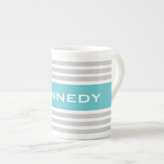Teal & Light Grey Stripes Custom Monogram Tea Cup