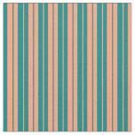 [ Thumbnail: Teal & Light Salmon Colored Stripes Fabric ]