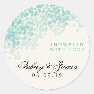 Teal Light Shower Wedding Favor Stickers