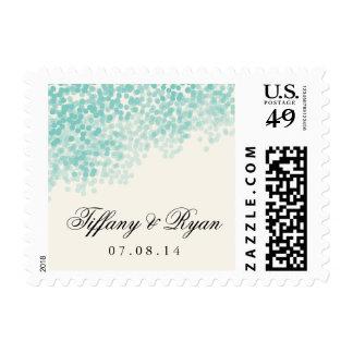 Teal Light Shower Wedding Postage Stamp