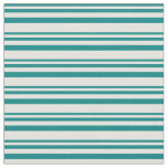 [ Thumbnail: Teal & Light Yellow Colored Lined/Striped Pattern Fabric ]