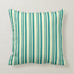 [ Thumbnail: Teal & Light Yellow Colored Lined/Striped Pattern Throw Pillow ]