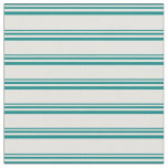 [ Thumbnail: Teal & Light Yellow Lines Fabric ]