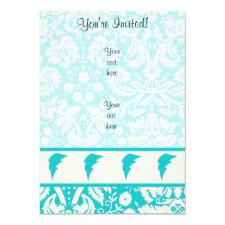 Teal Lightning Bolt 5x7 Paper Invitation Card