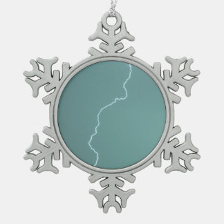Teal Lightning Snowflake Pewter Christmas Ornament