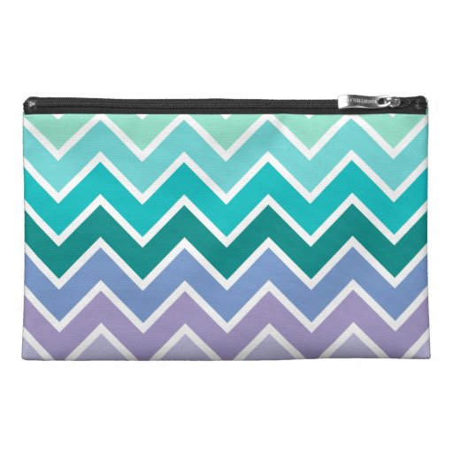 Teal Lilac Ombre Chevron Pattern Travel Accessories Bag