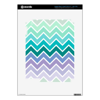 Teal Lilac Ombre Chevron Pattern Decals For iPad 3