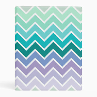 Teal Lilac Ombre Chevron Pattern Mini Binder