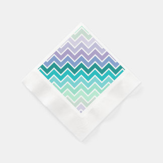 Teal Lilac Ombre Chevron Pattern Paper Napkins