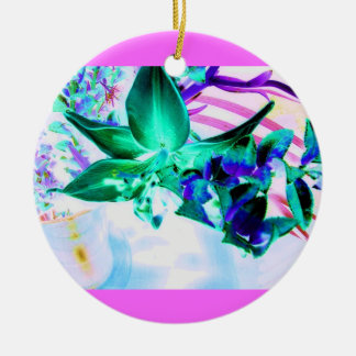Teal Lilly Ceramic Ornament
