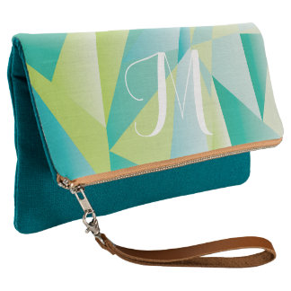 Teal Lime and Blue Abstract Pattern Clutch