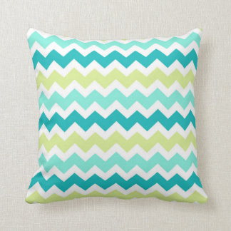 Teal Lime Chevron Decorative Pillow