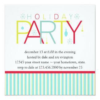 Teal Lime Dark Pink Holiday PartyInvitation 5.25x5.25 Square Paper Invitation Card