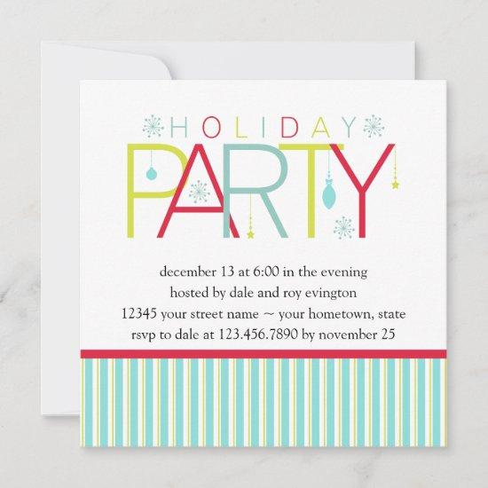 Teal Lime Dark Pink Holiday PartyInvitation Invitation