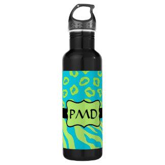 Teal, Lime Greem Zebra & Cheetah Personalized 24oz Water Bottle