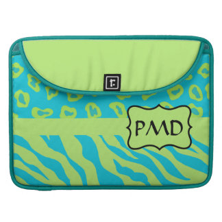 Teal, Lime Greem Zebra & Cheetah Personalized Sleeve For MacBook Pro