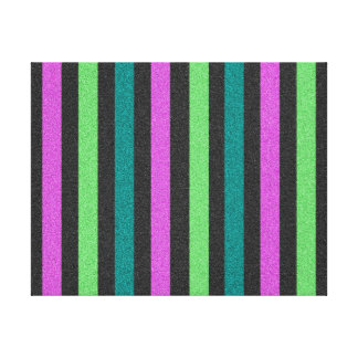 Teal, Lime Green, Hot Pink Glitter Striped Canvas Print