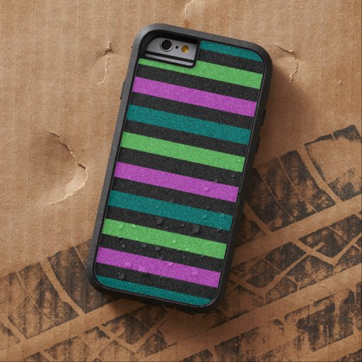 Teal, Lime Green, Hot Pink Glitter Striped iPhone 6 Case