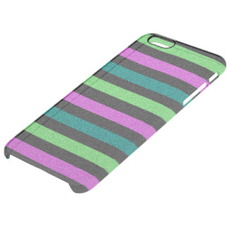 Teal, Lime Green, Hot Pink Glitter Striped Clear iPhone 6 Plus Case